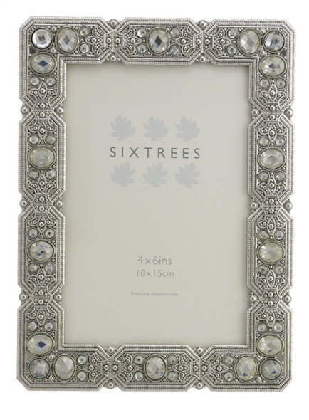 "Sixtrees Maud Antique Vintage and Shabby Chic Style silver metal photo frame with beads and crystals for a 6"" x 4""  picture."
