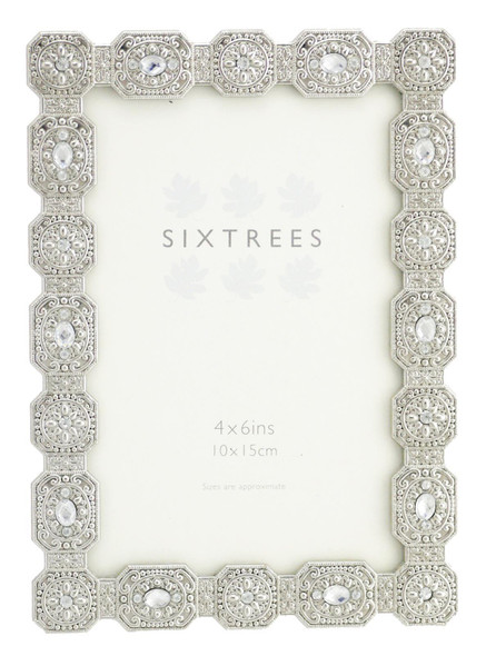 "Sixtrees Sarah Antique Vintage and Shabby Chic Style silver metal photo frame with beads and crystals for a 6"" x 4"" picture."