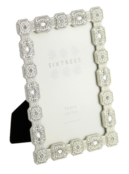 """Sixtrees Sarah Antique Vintage and Shabby Chic Style silver metal photo frame with beads and crystals for a 6"""" x 4"""" picture."""