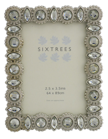 "Sixtrees Maria Antique Vintage and Shabby Chic Style silver metal photo frame with beads and crystals for a 3.5"" x 2.5"" picture."