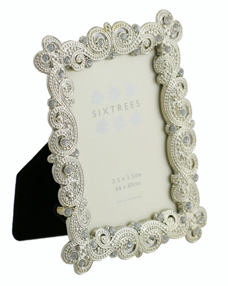 "Sixtrees Mattilda Antique Vintage and Shabby Chic Style silver metal photo frame with beads and crystals for a 3.5"" x 2.5"" picture."