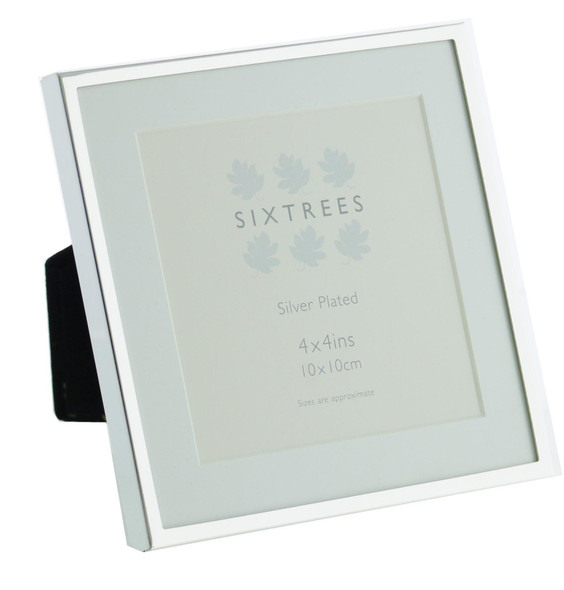 Sixtrees Park Lane 2-653-44 Silver Plated 4x4 inch Photo Frame With Soft white mount.Mount
