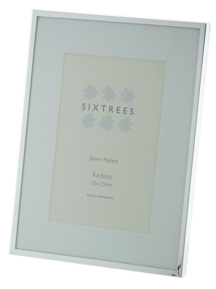 Sixtrees Park Lane 2-653-46 Silver Plated 6x4 inch Photo Frame With Mount.
