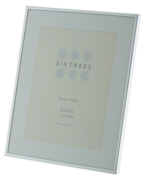 Sixtrees Park Lane 2-653-68 Silver Plated 8x6 inch Photo Frame with Mount.
