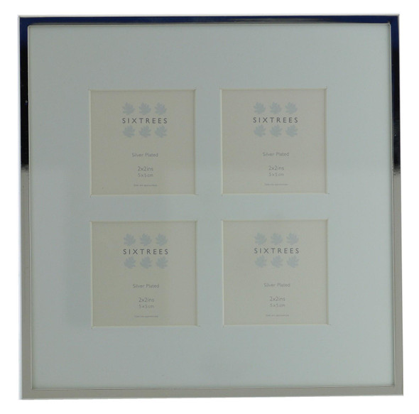 Sixtrees Park Lane 2-653-4C Silver Plated Four Aperture Photo Frame for four 2x2 inch Pictures with Soft White Mount.