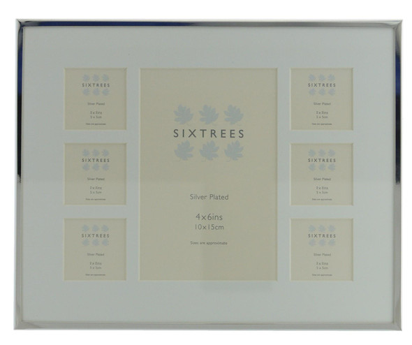 Sixtrees Park Lane 2-653-7C Silver Plated Seven Aperture Photo Frame With Soft White Mount.