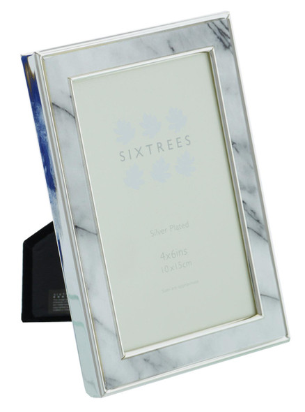 """Sixtrees Georgette 2-686-46 Silver Plated Photo Frame with Grey Marble effect insert for a 6"""" x 4"""" Picture."""