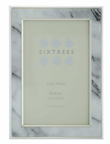 "Sixtrees Georgette 2-686-46 Silver Plated Photo Frame with Grey Marble effect insert for a 6"" x 4"" Picture."