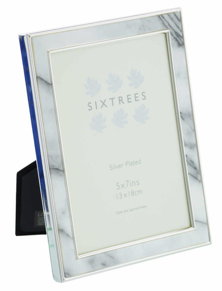 """Sixtrees Georgette 2-686-57 Silver Plated Photo Frame with Grey Marble effect insert for a 7"""" x 5"""" Picture."""