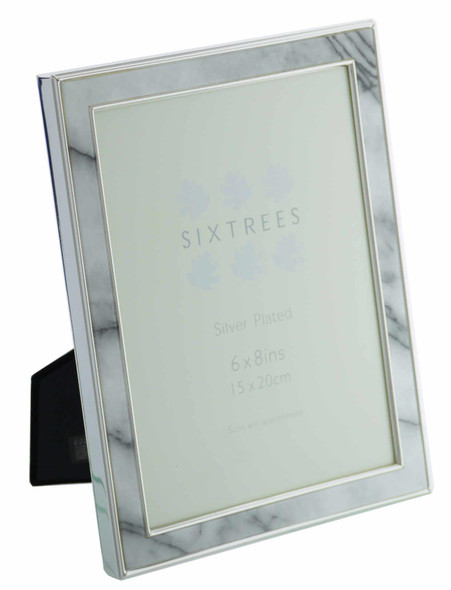 """Sixtrees Georgette 2-686-68 Silver Plated Photo Frame with Grey Marble effect insert for an 8"""" x 6"""" Picture."""