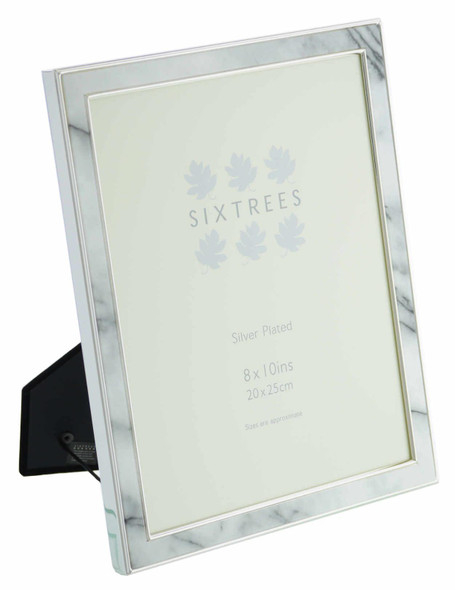 """Sixtrees Georgette2-686-80  Silver Plated Photo Frame with Grey Marble effect insert for a 10"""" x 8"""" Picture."""