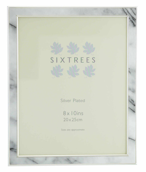 "Sixtrees Georgette 2-686-80  Silver Plated Photo Frame with Grey Marble effect insert for a 10"" x 8"" Picture."