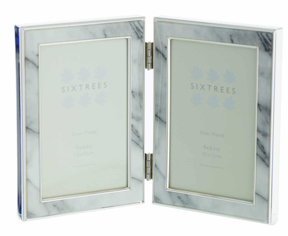 "Sixtrees Georgette 2-686-46HD Silver Plated Folding Photo Frame with Grey Marble effect insert for two 6"" x 4"" Pictures."