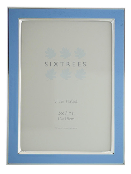 Sixtrees Kew 2-694-57 7x5 inch Silver Plated and Bright Blue Enamel Photoframe.