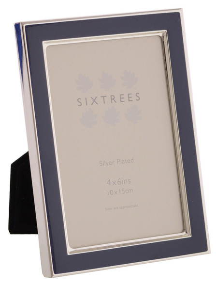 Sixtrees Kew 2-695-46 6x4 inch Silver Plated and Denim Blue Enamel Photoframe.