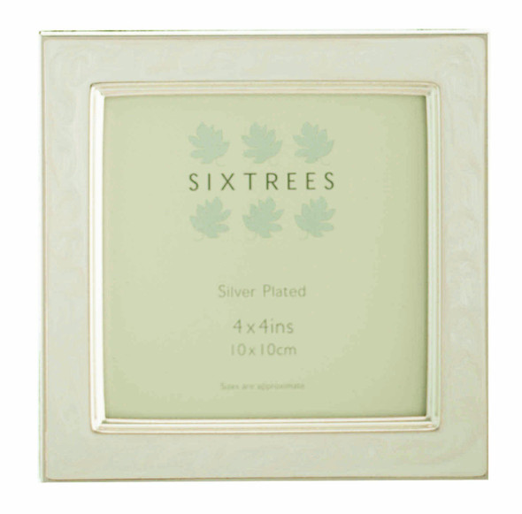 Sixtrees Zurich 2-699-44W 4 x 4-inch White Enamel Silver Plated Photo Frame.