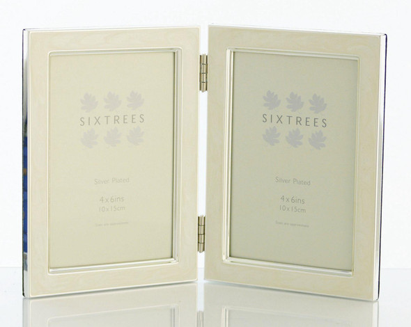 Sixtrees Zurich 2-699-46WHD Hinged Double  White Enamel Silver Plated  Photo Frame for Two 4x6-inch Pictures.