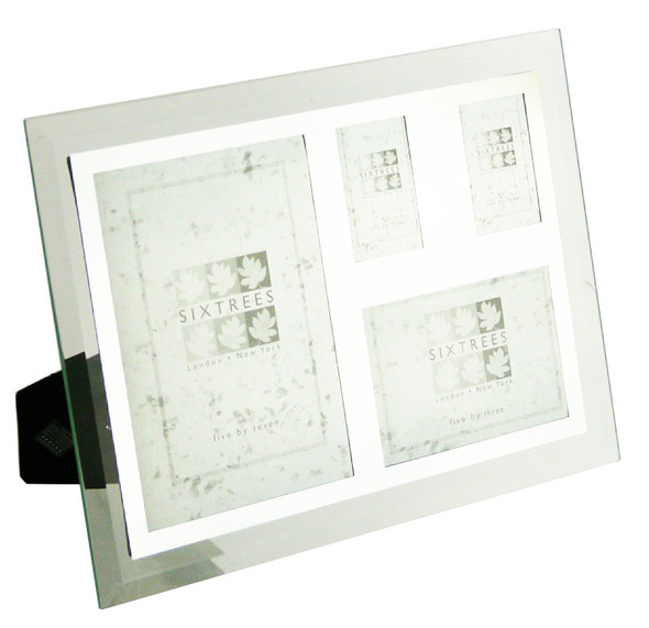 Sixtrees Stanbridge GM179 Bevelled Glass & Mirror Line inset Collage Multi Photo Frame for four pictures.