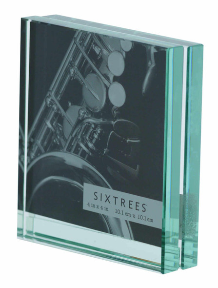 "Sixtrees GT602-44 Heavy Solid square cut Glass photo frame for two 4"" x 4"" pictures."