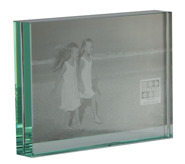 "Sixtrees GT602-44 Heavy Solid square cut Glass photo frame for two 6"" x 4"" pictures."