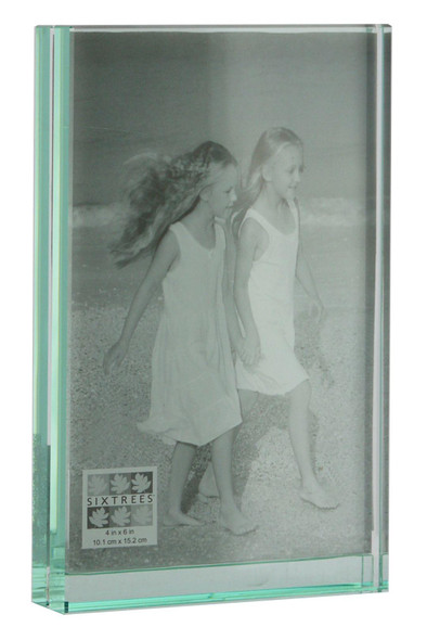 "Sixtrees GT602-46V Heavy Solid square cut Glass photo frame for two 4"" x 6"" pictures."