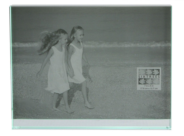 "Sixtrees GT602-57H Heavy Solid square cut Glass photo frame for two 7"" x 5"" pictures."