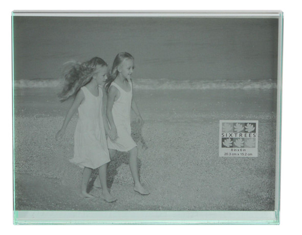 "Sixtrees GT602-68H Heavy Solid square cut Glass photo frame for two 8"" x 6"" pictures."
