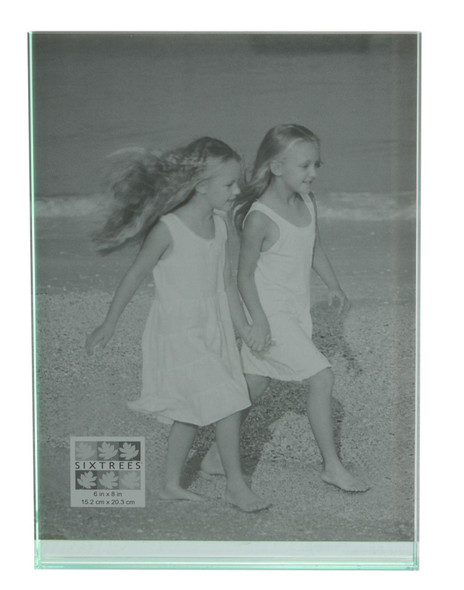 "Sixtrees GT602-68V Heavy Solid square cut Glass photo frame for two 6"" x 8"" pictures."