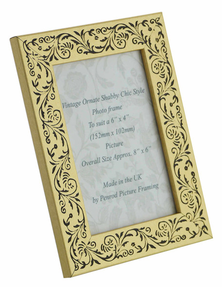 Iris Handmade Gold and Black Floral Vintage 6x4 inch Photo Frame.