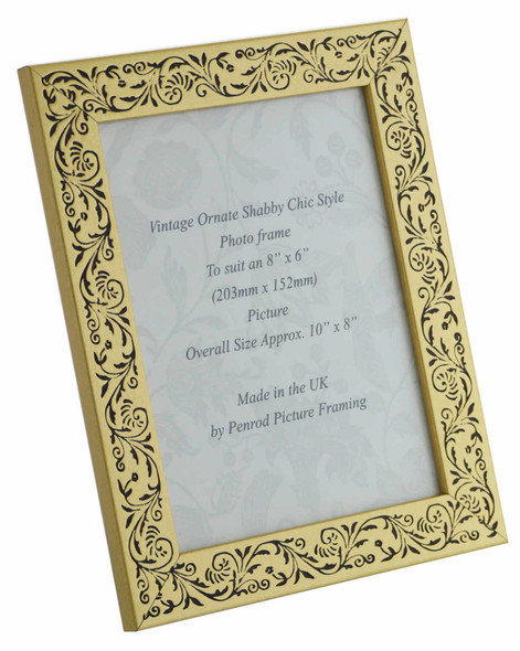 Iris Handmade Gold and Black Floral Vintage 8x6 inch Photo Frame.