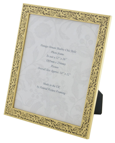 Iris Handmade Gold and Black Floral Vintage 12x10 inch Photo Frame.