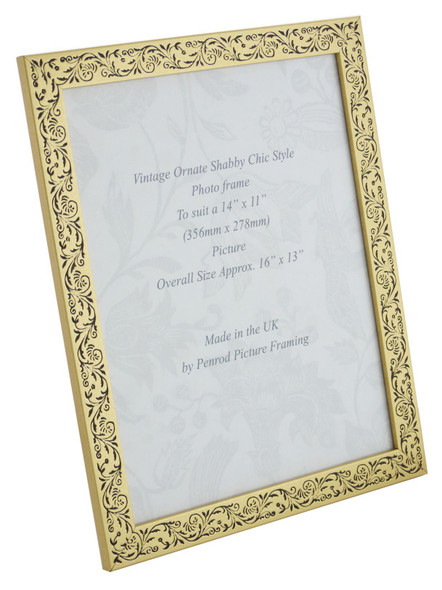 Iris Handmade Gold and Black Floral Vintage 14x11 inch Photo Frame.