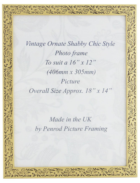 Iris Handmade Gold and Black Floral Vintage 16x12 inch Photo Frame.