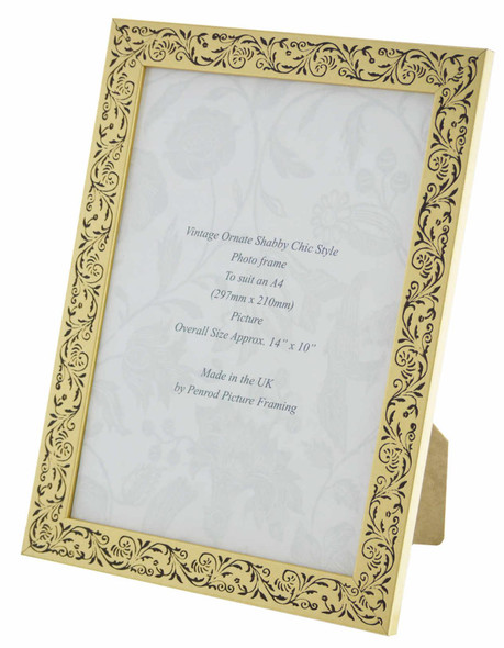 Iris Handmade Gold and Black Floral Vintage A4 Photo Frame.
