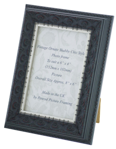 Juliet Black Handmade 6x4 inch Photo Frame. Black with Dark Brown Highlights and a Silver Rim Detail.