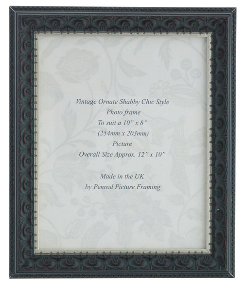 Juliet Black Handmade 10x8 inch Photo Frame. Black with Dark Brown Highlights and a Silver Rim Detail.