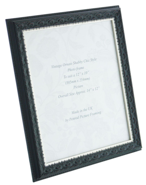 Juliet Black Handmade 12x10 inch Photo Frame. Black with Dark Brown Highlights and a Silver Rim Detail