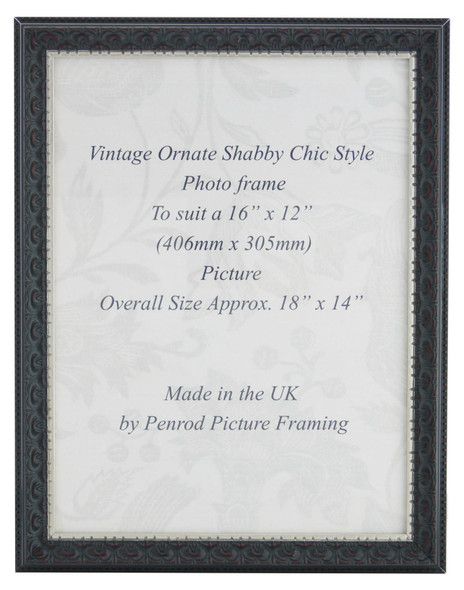 Juliet Black Handmade 16x12 inch Photo Frame. Black with Dark Brown Highlights and a Silver Rim Detail.