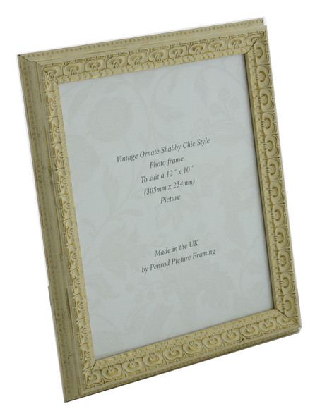 Juliet White Handmade Ornate Distressed Soft White Shabby Chic 12x10 inch Photo Frame with Gold Highlights.