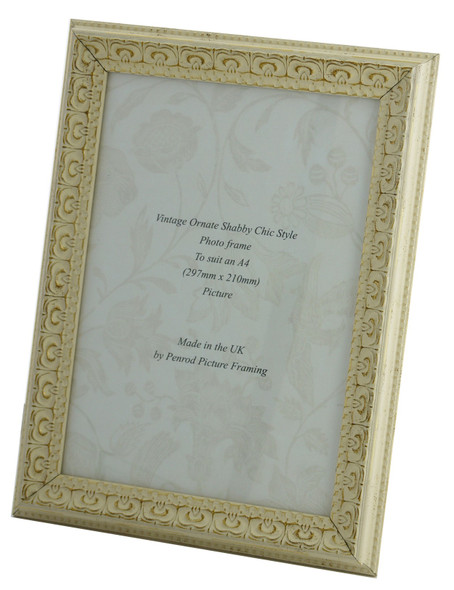 Juliet White Handmade Ornate Distressed Soft White Shabby Chic A4 Photo Frame with Gold highlights