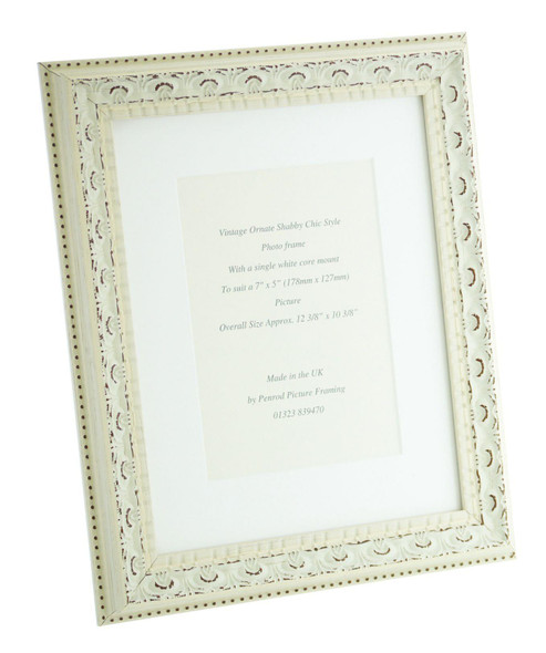 Juliet White Handmade Ornate Distressed Soft White Shabby Chic Photo Frame with mount for 7 x 5 inch picture.
