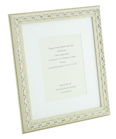 Juliet White Handmade Ornate Distressed Soft White Shabby Chic Photo Frame with mount for an 8 x 6 inch picture.