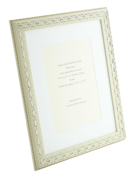 Juliet White Handmade Ornate Distressed Soft White Shabby Chic Photo Frame with mount for 10 x 8 inch picture.