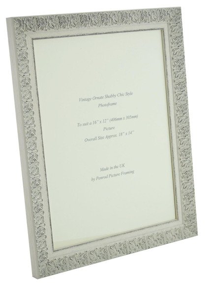 Lille 007  Handmade 16x12 inch Shabby Chic Photo Frame in Ornate Distressed White and Dark Grey Embossed Pattern.