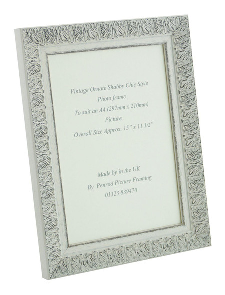 Lille 007  Handmade A4 Shabby Chic Photo Frame in Ornate Distressed White and Dark Grey Embossed Pattern.