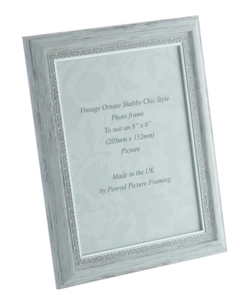 Positano Handmade Ornate Distressed White and Silver Shabby Chic Vintage 8x6 inch Photo Frame.