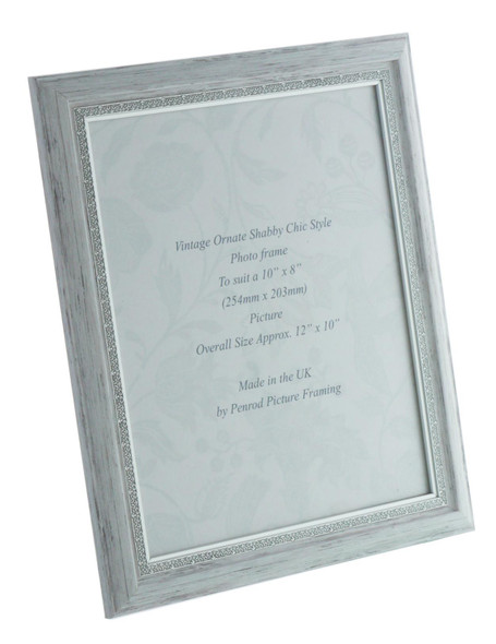 Positano Handmade Ornate Distressed White and Silver Shabby Chic Vintage 10x8 inch Photo Frame.