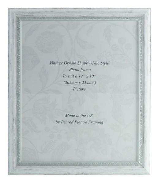 Positano Handmade Ornate Distressed White and Silver Shabby Chic Vintage 12x10 inch Photo Frame.