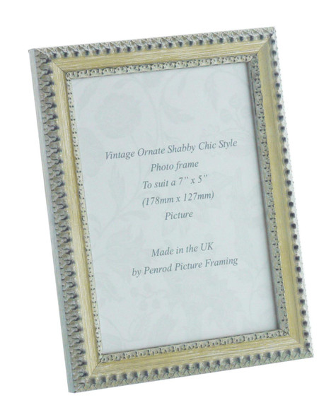 Salzburg Handmade Ornate Distressed Cream and Silver Shabby Chic 7x5 inch Photo Frame.