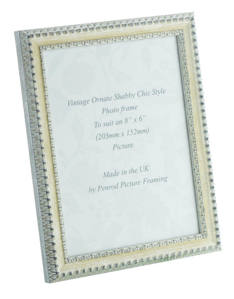 Salzburg Handmade Ornate Distressed Cream and Silver Shabby Chic 8x6 inch Photo Frame.